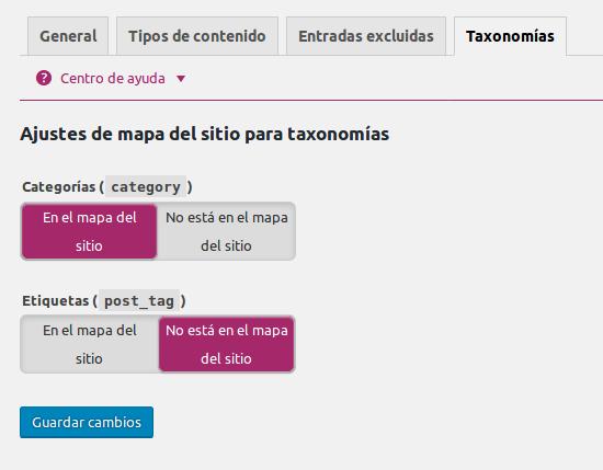 taxonomias en el sitemap