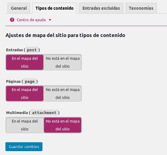 tipos de contenido sitemap