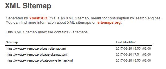 xml sitemaps del sitio