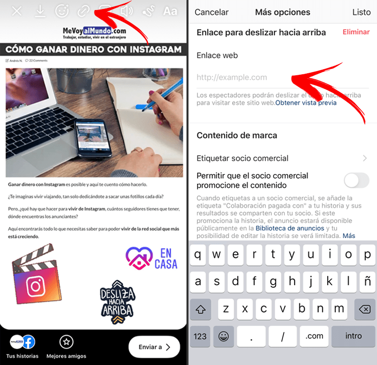 Cómo poner un enlace en tus stories de Instagram