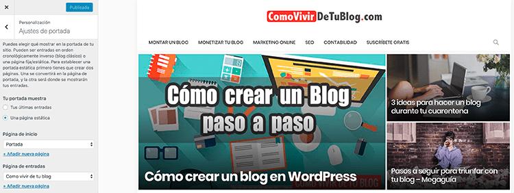 Configurar portada de WordPress