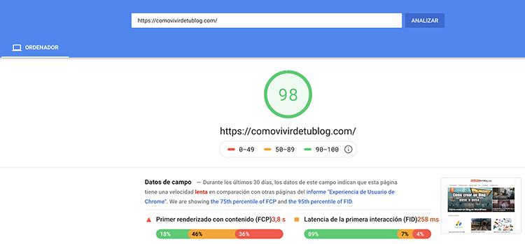Mejora velocidad página en ordenadores