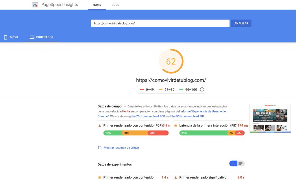 Velocidad de mi página en ordenadores